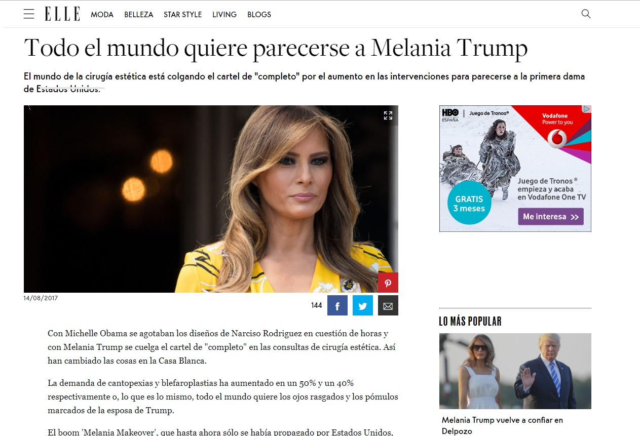 Cirugías Estéticas Melania Trump