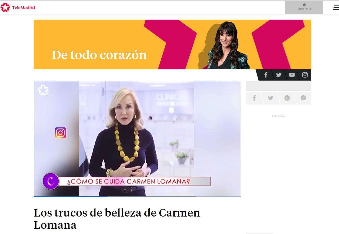 Carmen Lomana Secreto de Belleza Telemadrid - Clínicas Diego de León