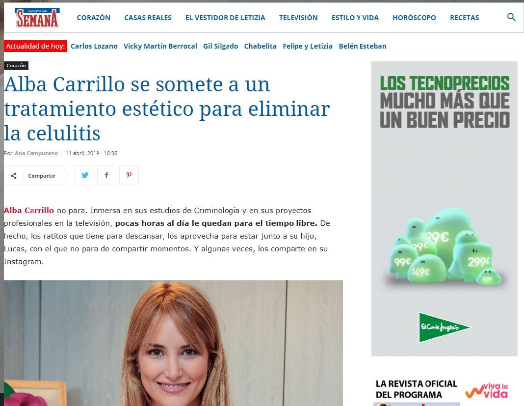 Alba Carrillo elimina celulitis- Clínicas Diego de León